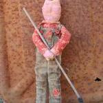 Primitive Farming Pig Doll - Blue D..