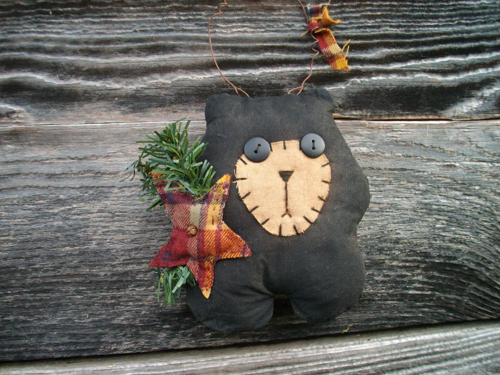 Whimsical Primitive Bear Doll - Shelf Sitter, Tuck, Door Greeter, or Wall Hanging