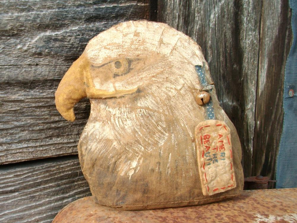 Primitive Bald Eagle with Rusty Bell and Handmade Fabric Hang Tag - Shelf Sitter or Tuck - custom order, allow 2 weeks for shipping