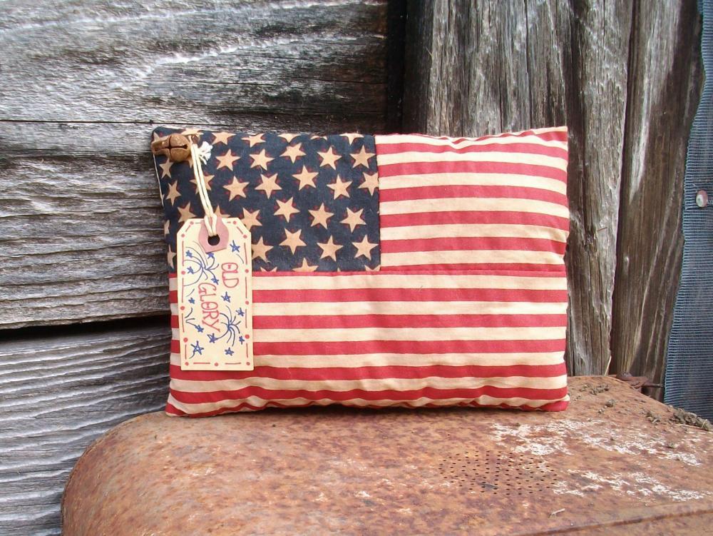 Primitive July 4 Flag Decoration - Shelf Sitter or Tuck - For Your Shelf, Mantel or Hutch